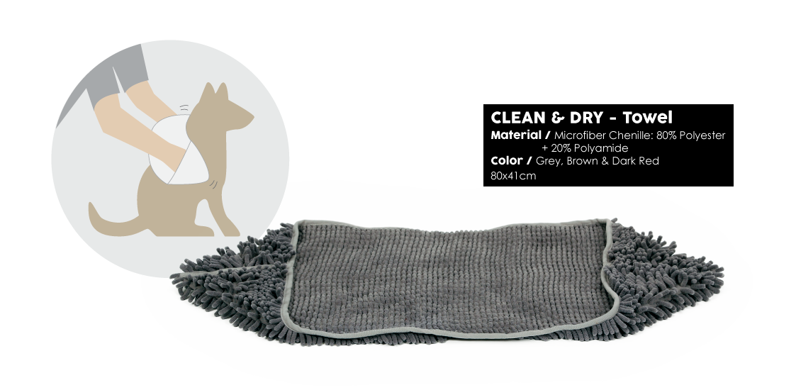 Clean & Dry Towel grey red brown