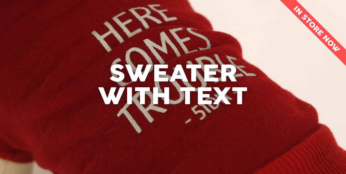 51 Degrees North Homepage Content Dress Winter 2017 Sweater with text in store now