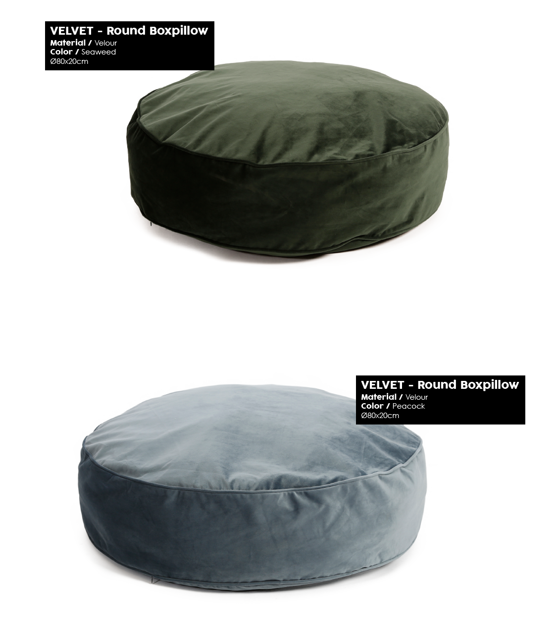 51 degrees north Velvet winter 2018 round boxpillow seaweed peacock
